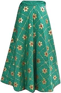 SNEH Women's Dupion Silk Heavy Gota Patti Work Skirt (Rama Green,Free Size)