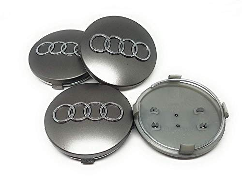 IGGY 4pz Tapones Tapacubos Audi Silver 68 mm para Audi A1 A3 A4 A5 A6 Q5 TT RS4 Q5 Q7 S4