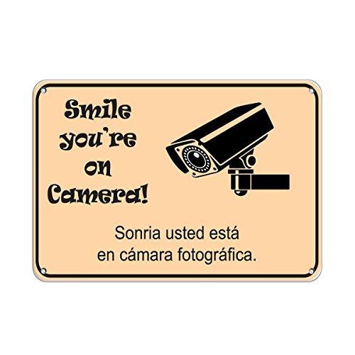 Home Decor Tin Teken Glimlach Je bent op Camera Sonria Beveiliging Teken Metaal Teken voor Outdoor Indoor Gebruik Gemakkelijk te Monteren