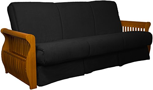 Laguna Perfect Sit & Sleep Pocketed Coil Inner Spring Pillow Top Sofa Sleeper Bed, Queen-size, Medium Oak Arm Finish, Microfiber Suede Ebony Black Upholstery