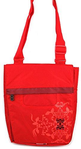 DURAGADGET Bolso Rojo con Print Floral para Lenovo Tab 2 A10-70 | Yoga 10 HD+ - con Múltiples Bolsillos Y Asa De Hombro Ajustable
