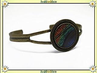 Bracciale retro resina piuma di pavone blu verde marrone regolabile rotondo 20mm ottone bronzo regalo personalizzato noel ...
