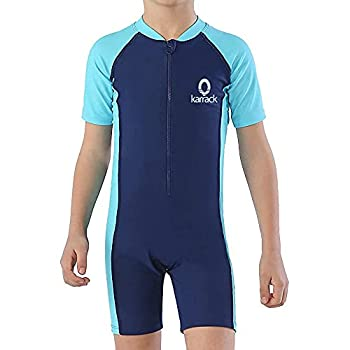 Karrack Girls and Boys One Piece Rash Guard Swimsuit Kid Water Sport Short Swimsuit UPF 50+ Sun Protection Bathing Suits Blue …