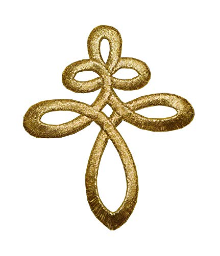 ETDesign #E02365 Gold Trim Fringe Celtic Knot Embroidery Iron On Applique Patch -3' by 3 5/8' inch