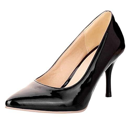 COOLCEPT Mode-Event Damen Basic Simple Pointed Toe Stiletto Heels Work Pumps (45 EU,Black)
