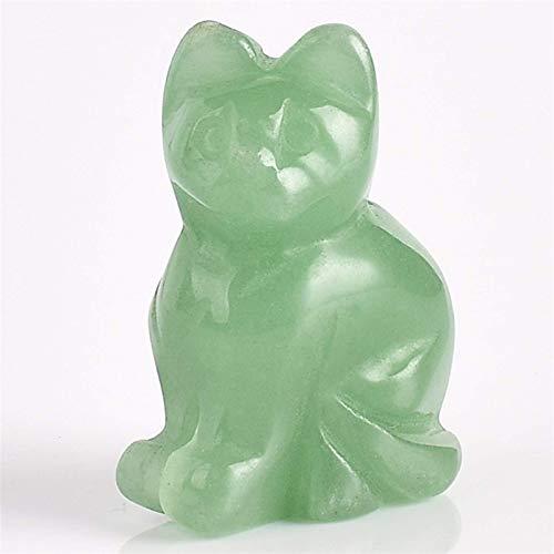 Fashio Colección Familiar Estatua de Gato Verde de 1,5 Pulgadas, artesanía semipreciosa, Piedra Tallada, Cristal, Cuarzo Rosa, Mini Figura de Animal para decoración del hogar