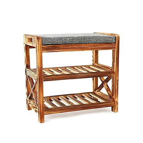 Estante de Zapatos Banco de soporte de zapatos de madera con cojín, banco de estantería de almacenamiento de asiento tapizado para la sala de estar de la sala de estar dormitorio Organizador de Zapato