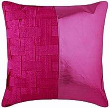 Designer 55x55 cm Throw Pillow Cover, Fuchsia Pink Cushions Cover, Basket Weave Metallic Faux Leather Cushion Case, Silk C...