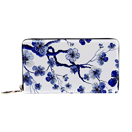 XCNGG Cartera con cremallera para mujer y bolso de mano para teléfono, bolso de viaje, bolso de mano de cuero, tarjetero, organizador, muñequeras, carteras, acuarela patrón oriental con rama de sakura