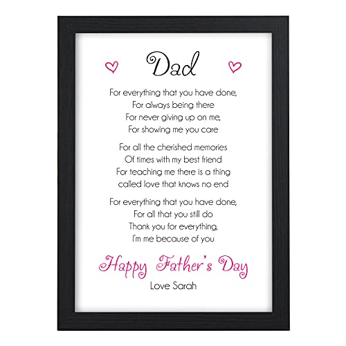 Happy Fathers Day Dad, Daddy, Grandad, Step Dad - Personalised Keepsake...