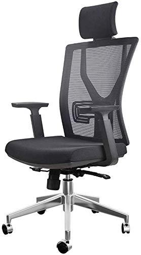YJA bureaustoel met hoge rugleuning, draaibaar bureaustoel, extra dikker, gevoerd, met armsteun, in hoogte verstelbaar, tiltspanningsstoel