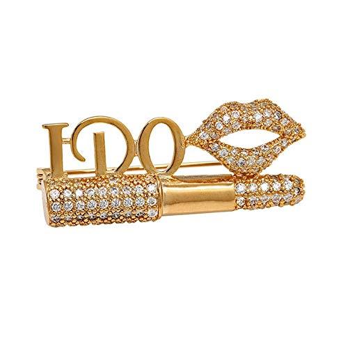 GXYMF Zirkonia Cz Crystal Lippenstift und Lippen Zirkon Broschen 4,3 * 1,8 cm Rose Gold Farbe