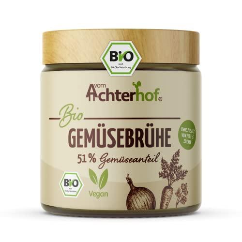 Gemüsebrühe Bio   salzarm mit nur 1 Gramm Salz   51% Gemüseanteil   ökologische Bio-Qualität   ohne Geschmacksverstärker, Hefe-Extrakt und Glutamat   keinerlei künstliche Zusatzstoffe   vom Achterhof