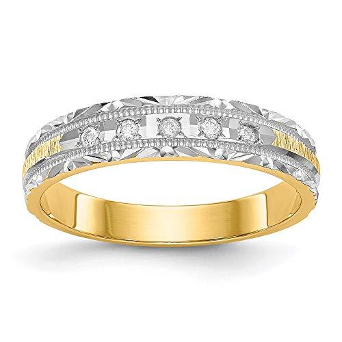 14k Yellow Gold Diamond Trio Ladies Wedding Band Ring, Size 51 1/2