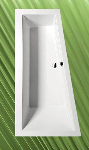 Badewanne ANDRA 170x90cm Ausführung Links + Ablaufgarnitur + Sifon + Wannenfüsse