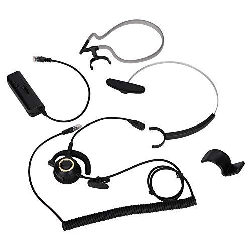 Esenlong Auriculares con cancelación de ruido, H1000-RJ9 con cabeza de cristal con cable de teléfono fijo y centro de llamadas, para teléfono de centro de llamadas, teléfono digital