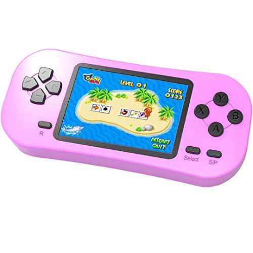 """ZHISHAN Handheld Spielkonsole für Kinder Eingebaute 218 Klassische Retro Elektronisches Video Spiele 2.5 \"""" LCD 3,5\"""" Kopfhöreranschluss Wiederaufladbar Arcade (Rosa)"""