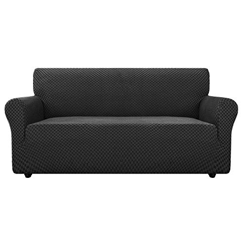 Chelzen Couch Cover Innovative Double-Color Sofa Covers for 3 Cushion Couch High Stretch Spandex Slipcover Living Room Anti Slip Pet Dog Proof Furniture Protector (Sofa, Charcoal Black Checkered)