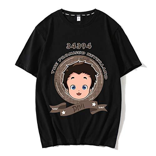 Nova camiseta preta The Promised Neverland Emma Norman Ray masculina e feminina de algodão anime camisetas camisetas pulôver, 07 - Preto, L