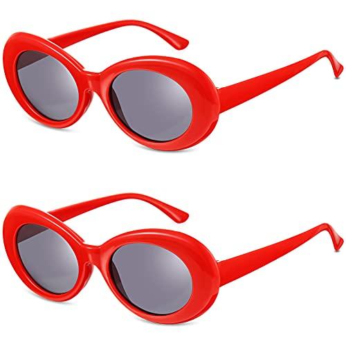 Frienda Gafas de Sol Retro Ovaladas de Disfraz Clout de Mujer Hombre (Rojo)