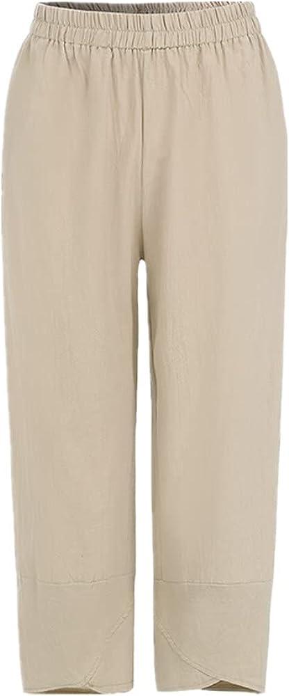 NP Women Casual Pants Summer Elastic Waist Plus Size Loose Linen Pants Comfortable