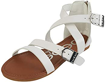 bebe Girls Double Buckle Gladiator Sandals White Size 1