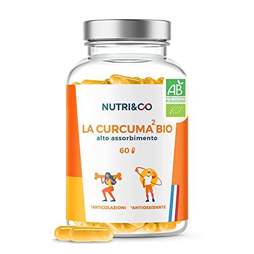 Curcuma Bio Potenziata | Curcumina Pura ad Alto Assorbimento | Biodisponibilità 22x Superiore Al Pepe Nero & Piperina | 60 Capsule | Integratore Alimentare Vegan | Nutri & Co