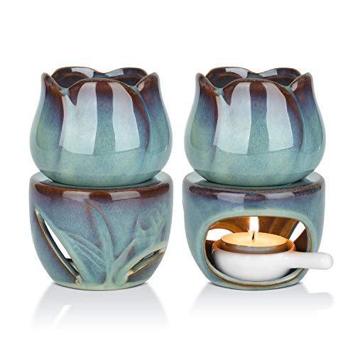 ComSaf Keramik Duftlampe Aromalampe Aromabrenner für Duftöl und Duftwachs mit Kerzenhalter Blau 2er-Set