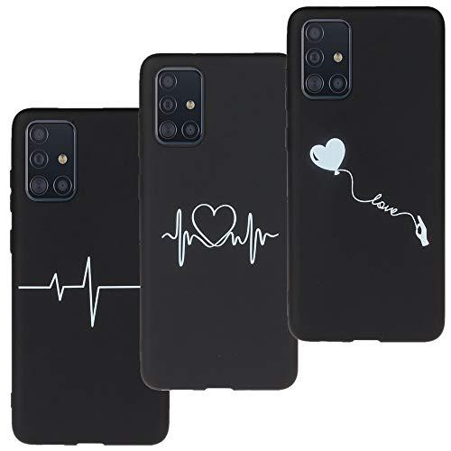 LeviDo 3X Funda Compatible para Samsung Galaxy A71 5G Silicona Delgado Case Caucho Caso Goma Bumper Antigolpes Parachoque Negro Cover, Modelo-Heartbeat-Amor