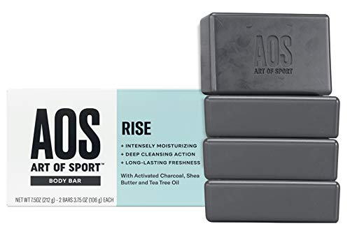 Art of Sport Body Bar Soap (4-Pack), Rise Scent, with Activated Charcoal, Tea Tree Oil, and Shea Butter, for Shower or Hand Soap, 3.75 oz
