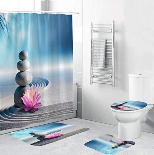 Juego de alfombras Flores de guijarros Grises Cortinas de Ducha Alfombrillas de baño Antideslizantes Impermeables Conjuntos de Accesorios de baño 4 Piezas para Tapa de Inodoro