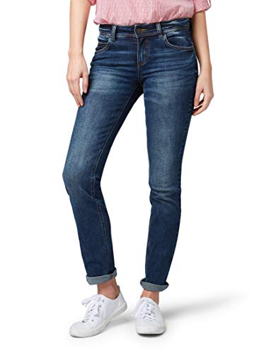 TOM TAILOR Damen Jeanshosen Alexa Straight Jeans mid Stone wash Denim,34/34