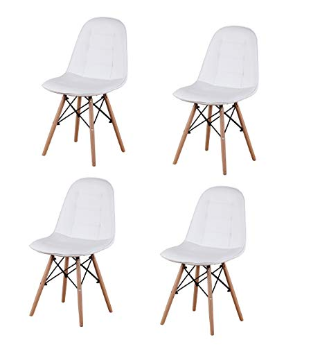 sweethome Mid-century Dining Chairs setg of 4 with Natural Woods &PP backrest Stylish Chairs for Living Cafe Kitchen (White PU)