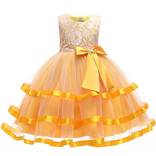 (フォーペンド)Forpend DR69 子どもドレス 女の子 フォーマル 発表会 結婚式 子供服 110 120 130 140 150 160cm オーガンジー リボン レース ワンピース (120cm, イエロー)