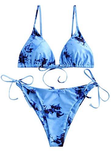 CheChury Moda Mujer Color Sólido Conjunto de Bikini 2 Piezas Sexy Cintura Baja Estampado Tie Dye + Chaleco Superior de Tres Piezas Cintura Baja Shorts