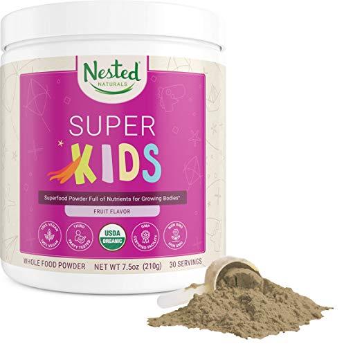 Nested Naturals Super Kids | 100% USDA Organic Vegan Superfood Powder for Kids | 30 Servings of Greens, Veggies, Fruits, Seeds | Natural Fruit Flavor 0g Sugar | Non-GMO Plant-Based Nutrition