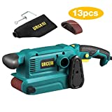 URCERI Belt Sander 800W 3×18 Inch with 13Pcs Sanding belt, 7A Power Bench Sander with 6 Variable Speeds, Dust Collection Bag, 35mm Vacuum Adapter, Screw Clamps and Lock-on Button