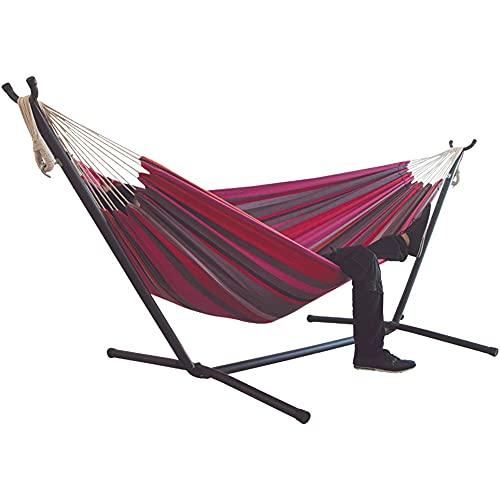 Huixindd Camping Pure Doble Tassel Canvas Hamaca, Dormir en el Patio Trasero al Aire Libre Cama de Swing para Accesorios de colocación de jardín para el hogar (Cor : Buff)