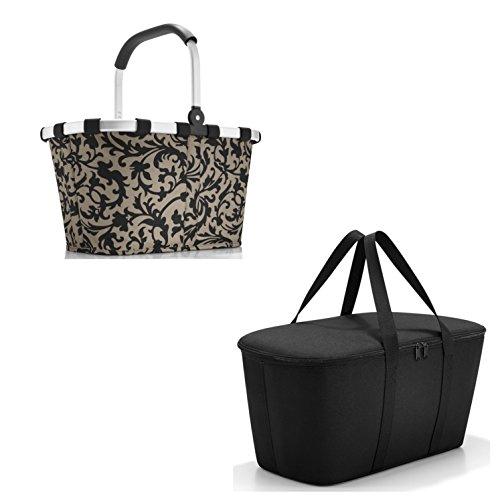 Reisenthel - Bonito set de compra de 2piezas compuesto por una cesta de la compra (carrybag) y una bolsa nevera (coolerbag) con decoración moderna (Baroque Taupe)