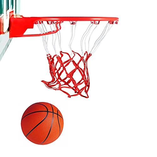 Red de Baloncesto 12 Bucles, Nylon Malla de Baloncesto, Hecho a Mano Red Baloncesto, Malla para Estándard Canasta de Baloncesto, Robusto para Interior y Exterior, Blanco Malla