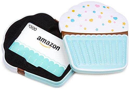 Amazon.com $300 Gift Card in a Birthday Cupcake Tin (Birthday Cupcake Card Design)