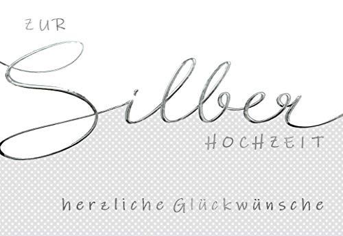 Silberhochzeit Karte, Karte zur Silberhochzeit, Folienprägung, 25 Silberhochzeit, B6, Karte mit Umschlag, Motiv: Edel