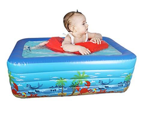 nobrand Wwceem Mink Kayak Rechteckiger aufblasbarer Schwimmhinterhof Innen- und Außenbereich Blau Weiß 130 * 90 * 50 cm Blauer Pool Geeignet für Erwachsene und Kinder Gartenhaus