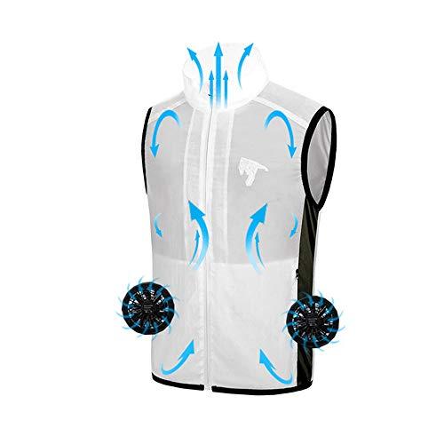 Roboraty Kühlgebläse Jacke/Klimaanlage Kleidung, Arbeitskleidung mit - für Hochtemperatur Outdoor Arbeiten Sommer Angeln Reisen Camping und Fahrrad,White-M