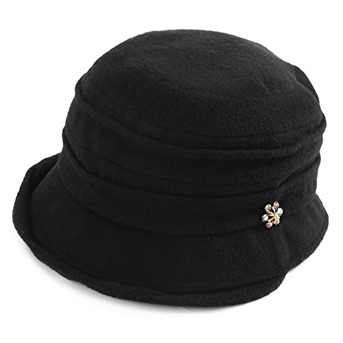 HIKARO Amazon Brand Womens 30% Wool 1920s Vintage Cloche Hat Fashion Winter Bucket Black