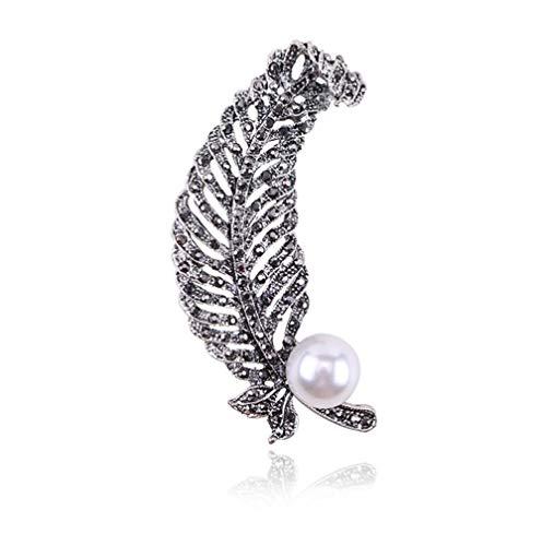 BJINUIY Elegante Broche navideño, Retro Pistola Negra Antigua Perla Plateada Diamante Completo Dama para Decoraciones navideñas Adornos