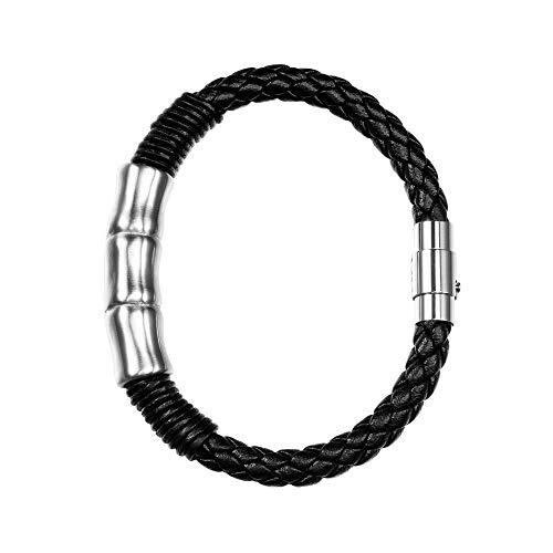 Welly Merck Herren Armband Edelstahl Echtleder Armband Geflochten Mit Magnetverschluss AOS-002