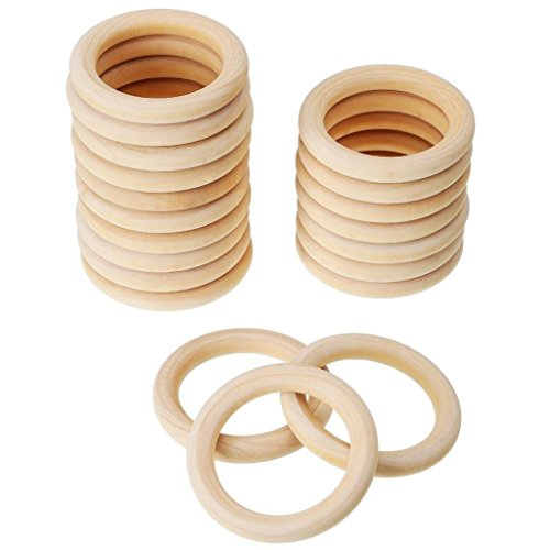 Wood Rings Wooden Curtain Rings for Wood Baby Teething Craft DIY Toys 45mm-20pcs