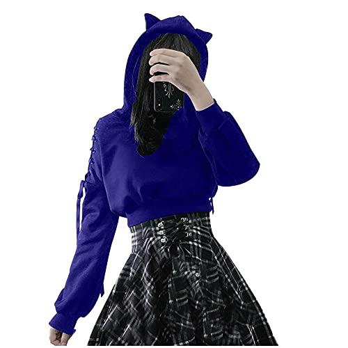 FMYONF Sudadera con capucha para mujer de Cat Ears, de manga larga, con cordones, estilo gótico, G-azul., XXL