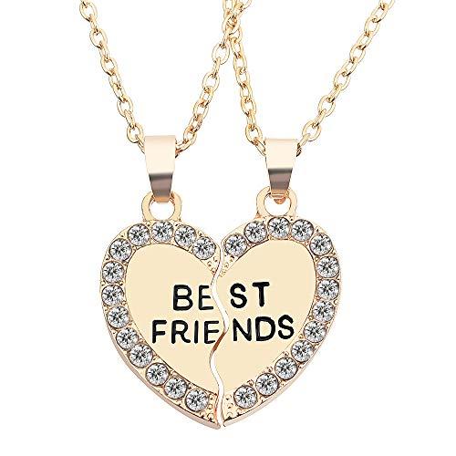 MJARTORIA Damen Mädchen Kette Gold Farbe Halskette mit Gravur Best Friends Herz Anhänger Jugendliche Freundschaftsketten 2 Stück (Gold-Best Friends)